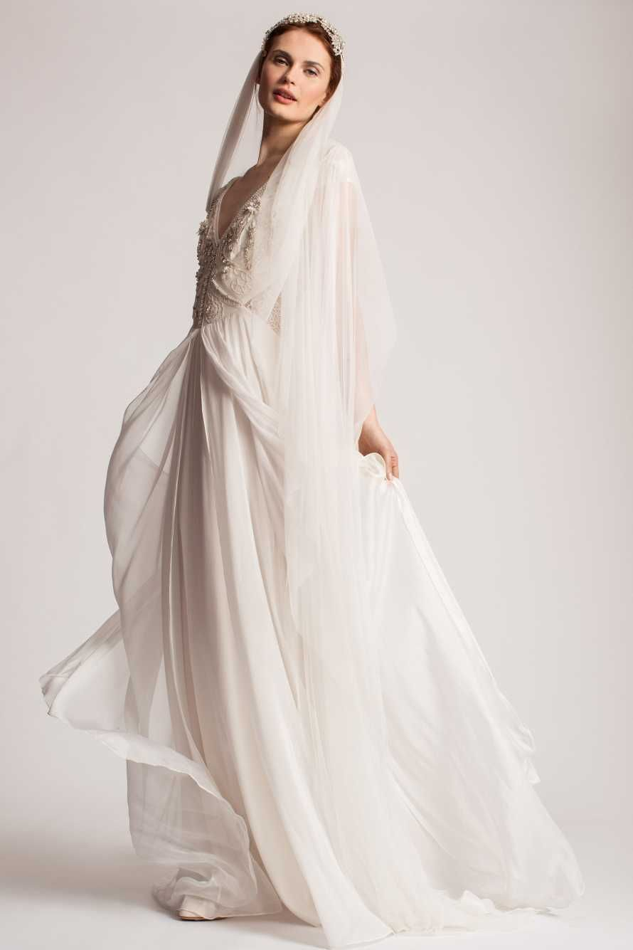 Beaded aline with cap sleeves and flowing skirt temperley london