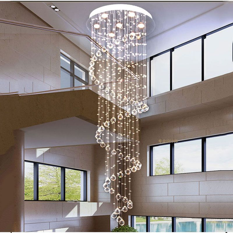Long stairwell chandelier Living room Hall stairwell chandelier Lighting K9 Crystal Drop Hanging Lamp high ceiling chandelier