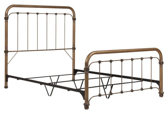 Alyssa Steel Panel Bed, Brass