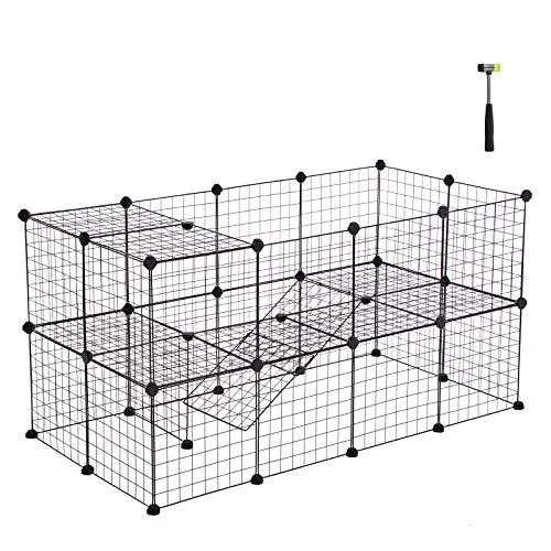Songmics Pet Playpen Includes Cable Ties Metal Wire Apartment Best Petsep Com Rabbit Cages Small Animal Cage Pet Playpen