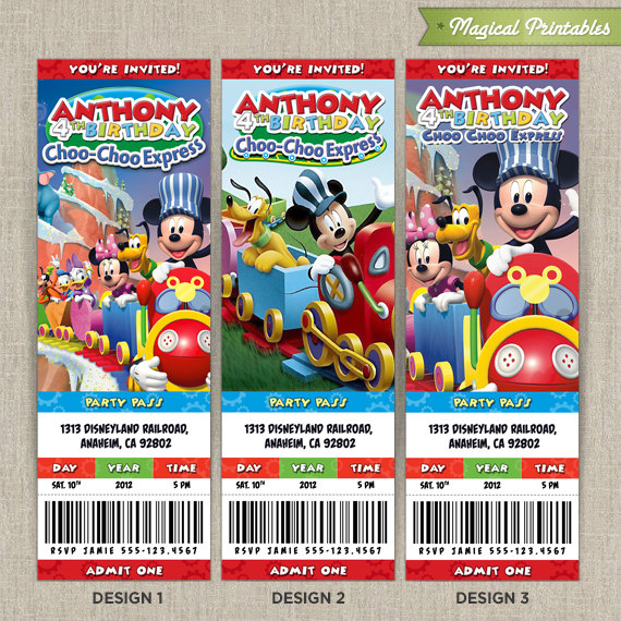 Personalized Disney Mickey Mouse CLUBHOUSE Choo Choo Express Birthday  Ticket Invitation Card