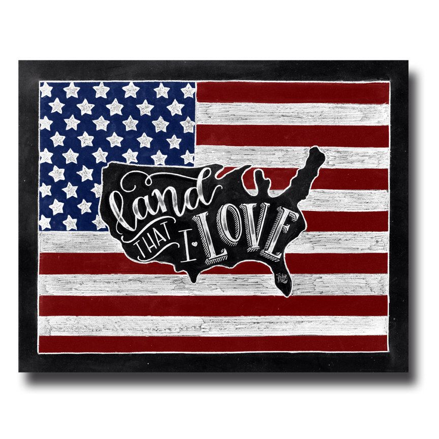 American Flag Fourth Of July Chalkboard Art Chalk Art - Us map chalkboard