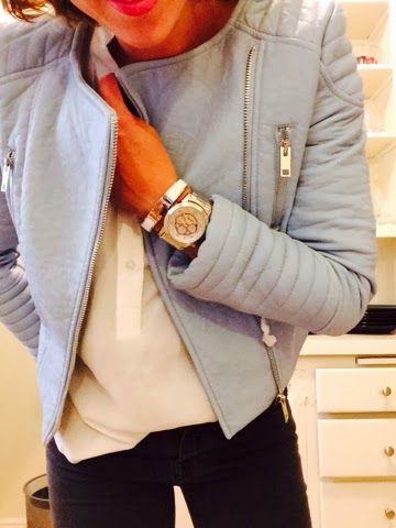 Baby Blue Leather Jacket From Zara With Big Silver Watch