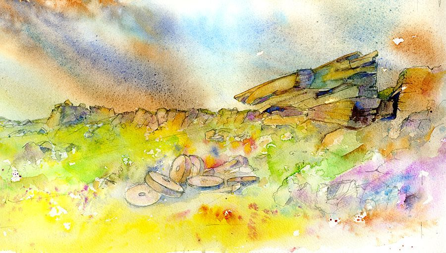 Stanage Edge Watercolour Nearly Finished Just Need To Give It