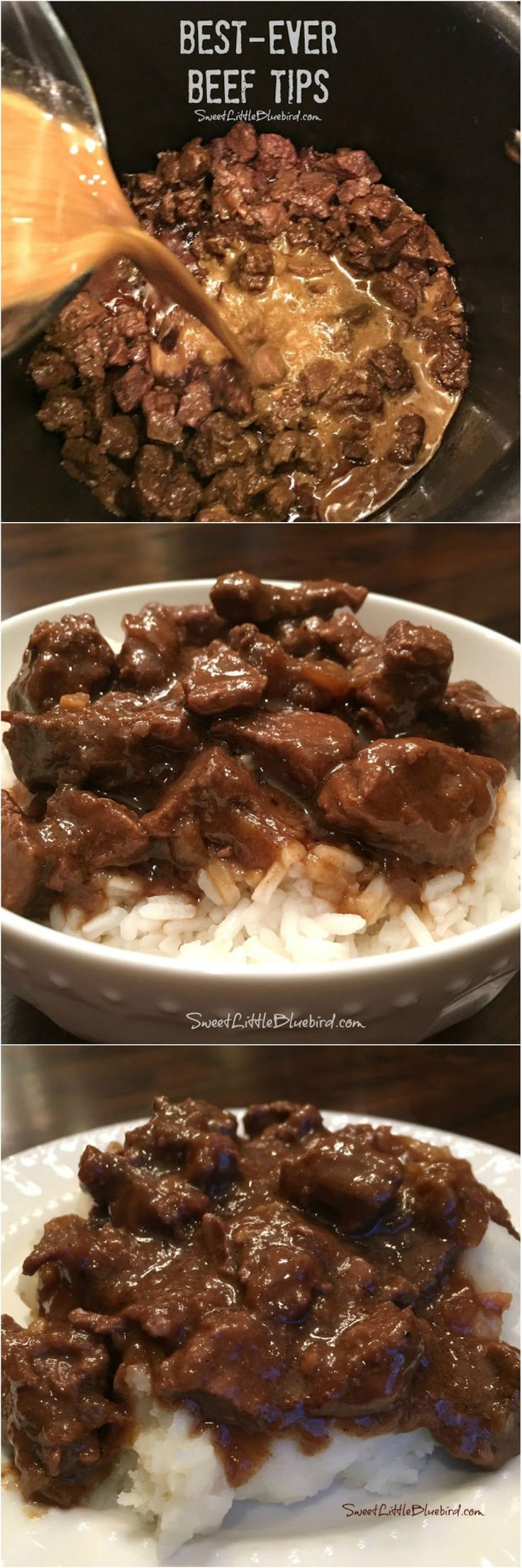 BEST-EVER BEEF TIPS - Tender beef cooked in a deliciously rich gravy, served ove...