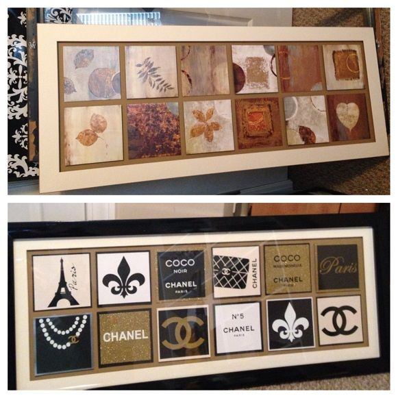 DIY decor -from DRAB to FAB --I redid the drabby picture with Chanel - Paris theme and I think it turned out great!! --- silhouette cameo vinyl crafts :) Pinterest.com/shersher135