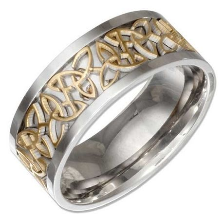 STAINLESS STEEL BAND WITH GOLD COLOR CELTIC TRINITY KNOT INSERT: