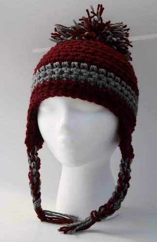Crochet Earflap Hat -Hand crocheted in Burgandy and Gray ...