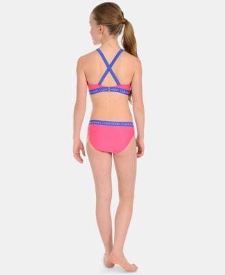 2f22fa3a35 Calvin Klein Big Girls 2-Pc. Striped Bikini Swimsuit - Blue S (7)
