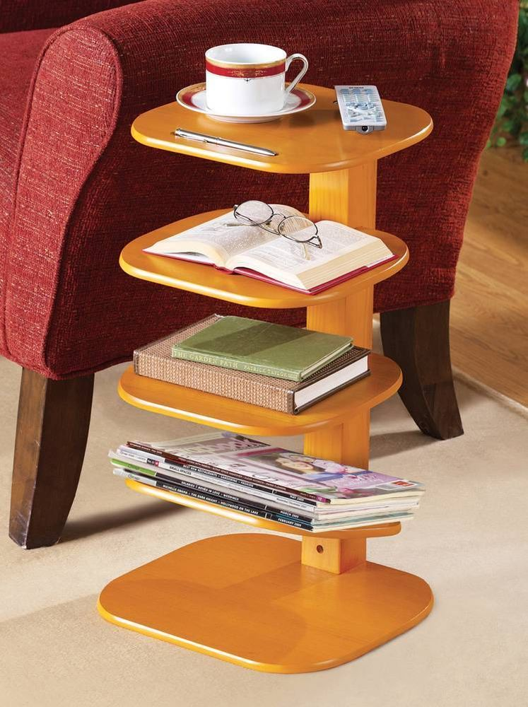 Wooden Book Shelf And Magazine Storage Small Accent Table New