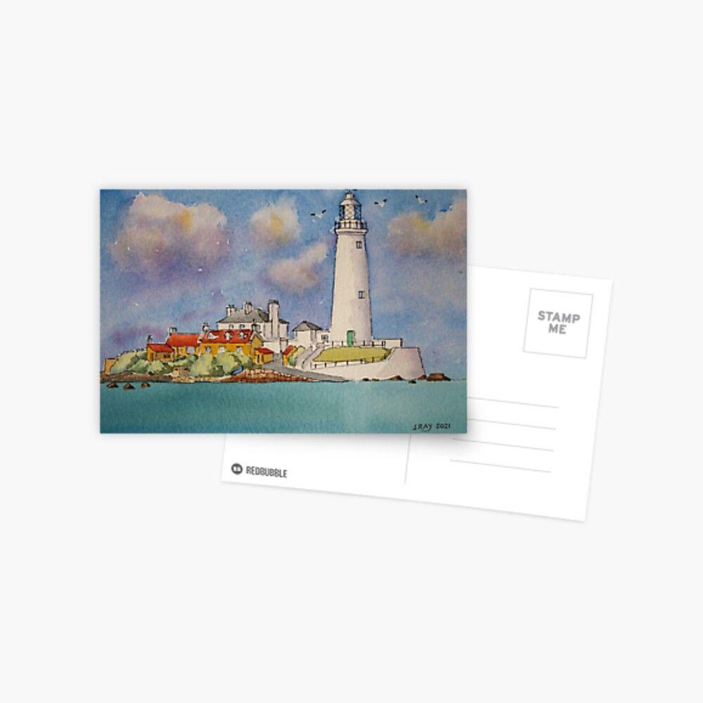 St Mary's Lighthouse. Postcard by John Ray