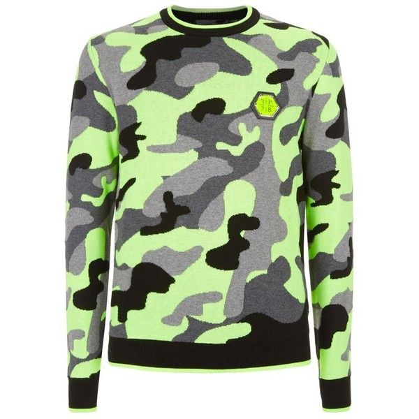 3220b1b5c8 Philipp Plein Camo Neon Crew Neck Sweater ($746) ❤ liked on Polyvore  featuring tops, sweaters, philipp plein, camo print top, crew-neck tops,  camouflage ...