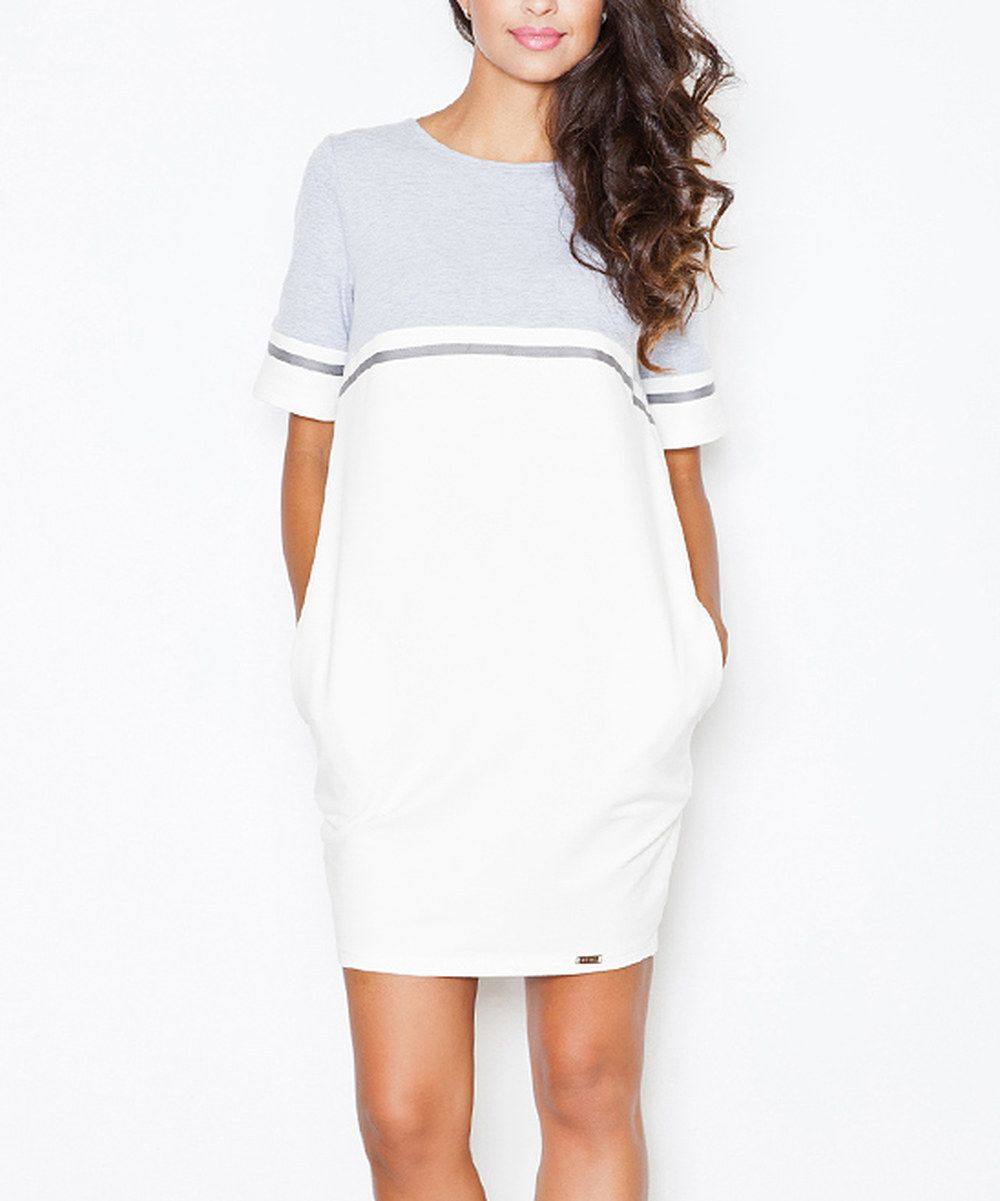 Look at this figl ecru u gray pocket shift dress on zulily today