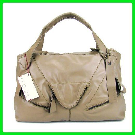 Nicoli Italian Made Beige Leather Oversized Designer Tote Handbag Totes Partner