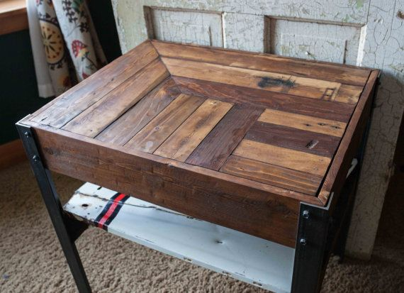 Repurposed pallet wood side table with scrap metal by for Repurposed metal furniture