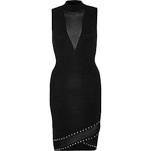 Black studded mesh dress