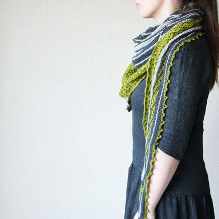 A cosy asymmetrical triangular shawl that's perfect for showing off bright colors - Project shared on the LoveKnitting Community