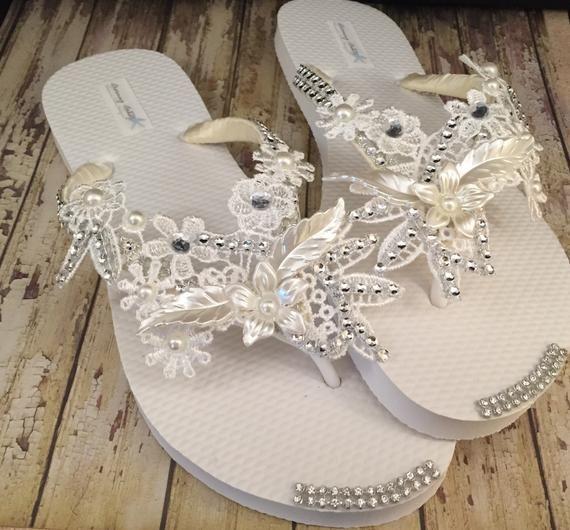 e69c7ad677d611 Olivia Ivory Lace Bridal Flip Flops Pearl Rhinestone Custom