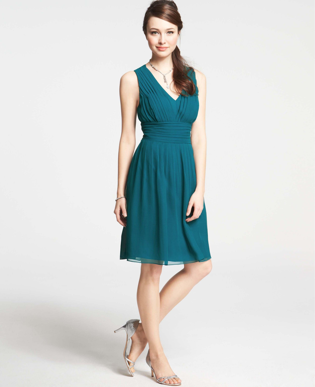 Silk Georgette Pleat Tank Dress | Ann Taylor | Outfits | Pinterest ...