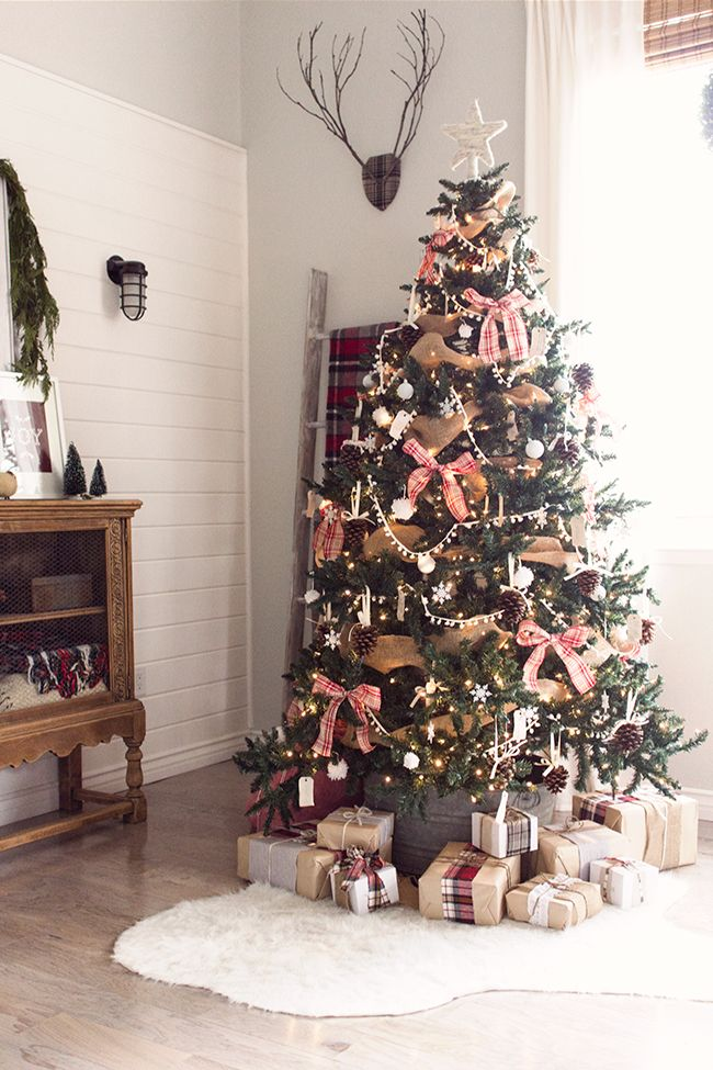 25 of the most inspiring rustic christmas trees rustic christmas tree jenna sue designs - Country Christmas Tree Decorations