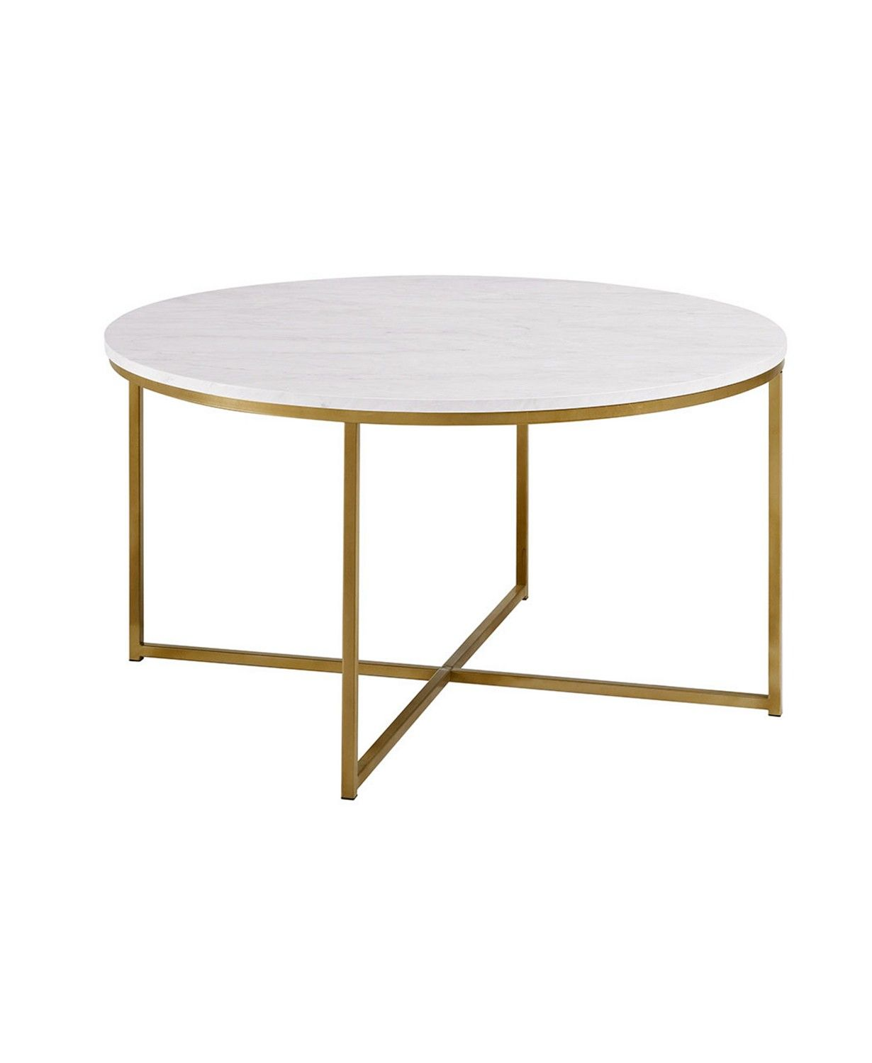 Walker Edison 36 Coffee Table With X Base Marble Gold Reviews