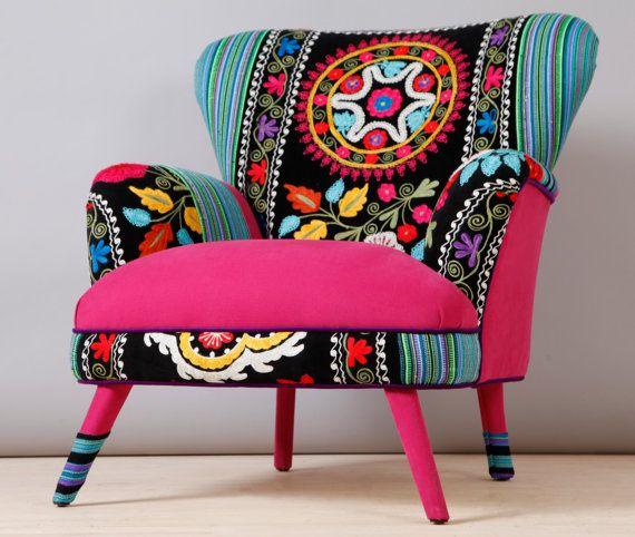 Suzani Armchair Pink Sky Patchwork Furniture Patchwork Armchair Boho Furniture