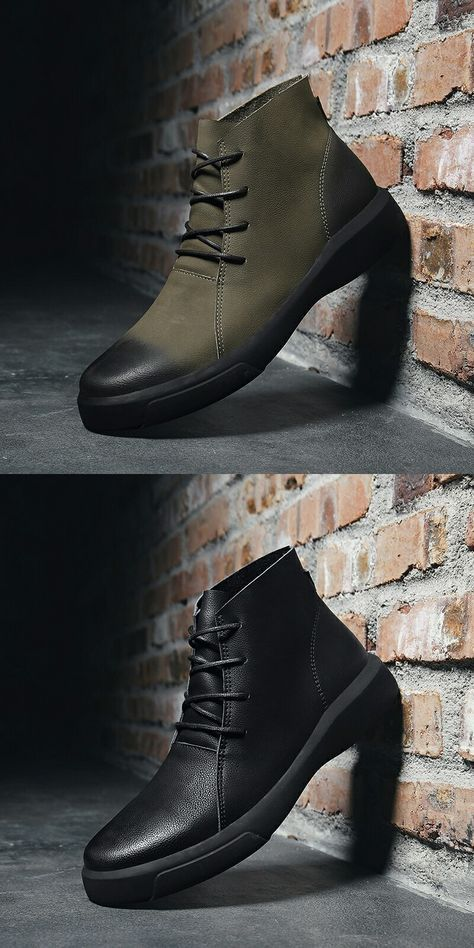 Prelesty Winter Retro Men Warm Desert Boots Handsome Genuine Leather