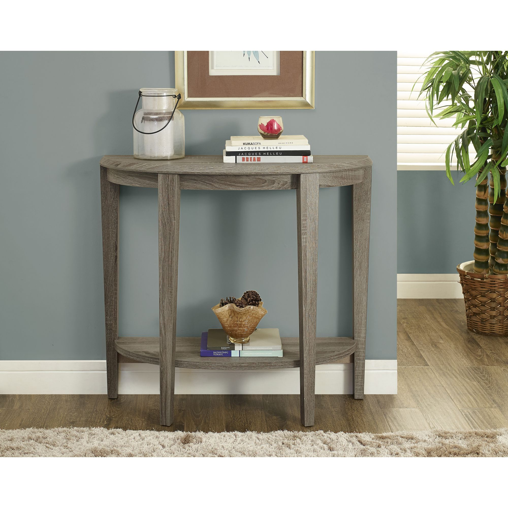 A Simple And Unique Half Moon Shape Makes This Console Table The Perfect  Addition To