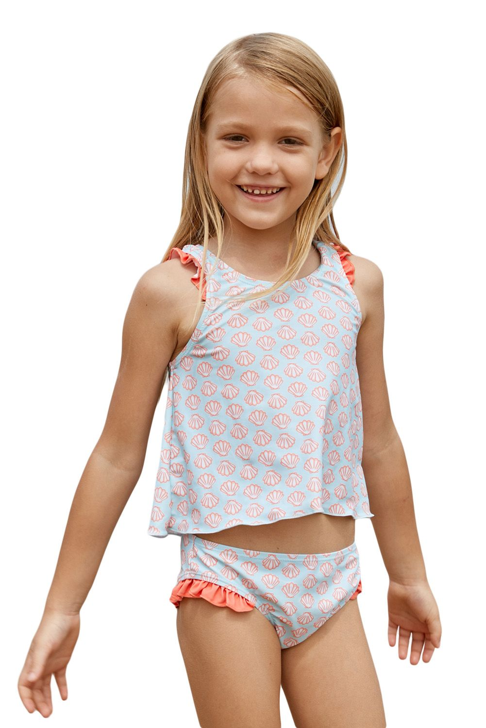 d59a71b5bec17 Light Blue Little Girls Tankini with Salmon Print | Stuff to buy ...