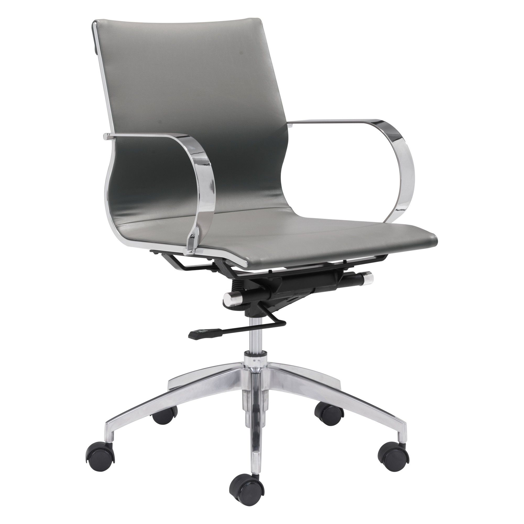 Elegant modern low back adjustable office chair gray zm home