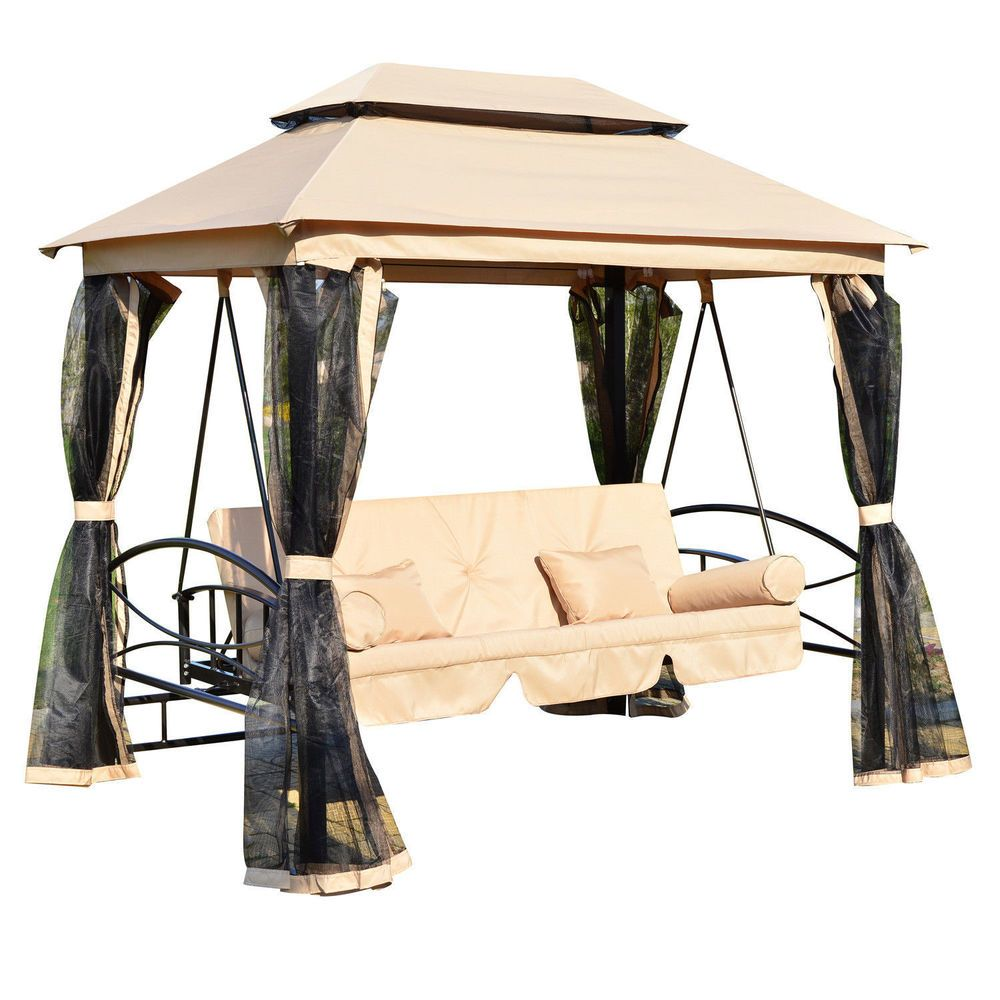 Gazebo Daybed 3 Person Outdoor Patio Swing Canopy Porch Hammock