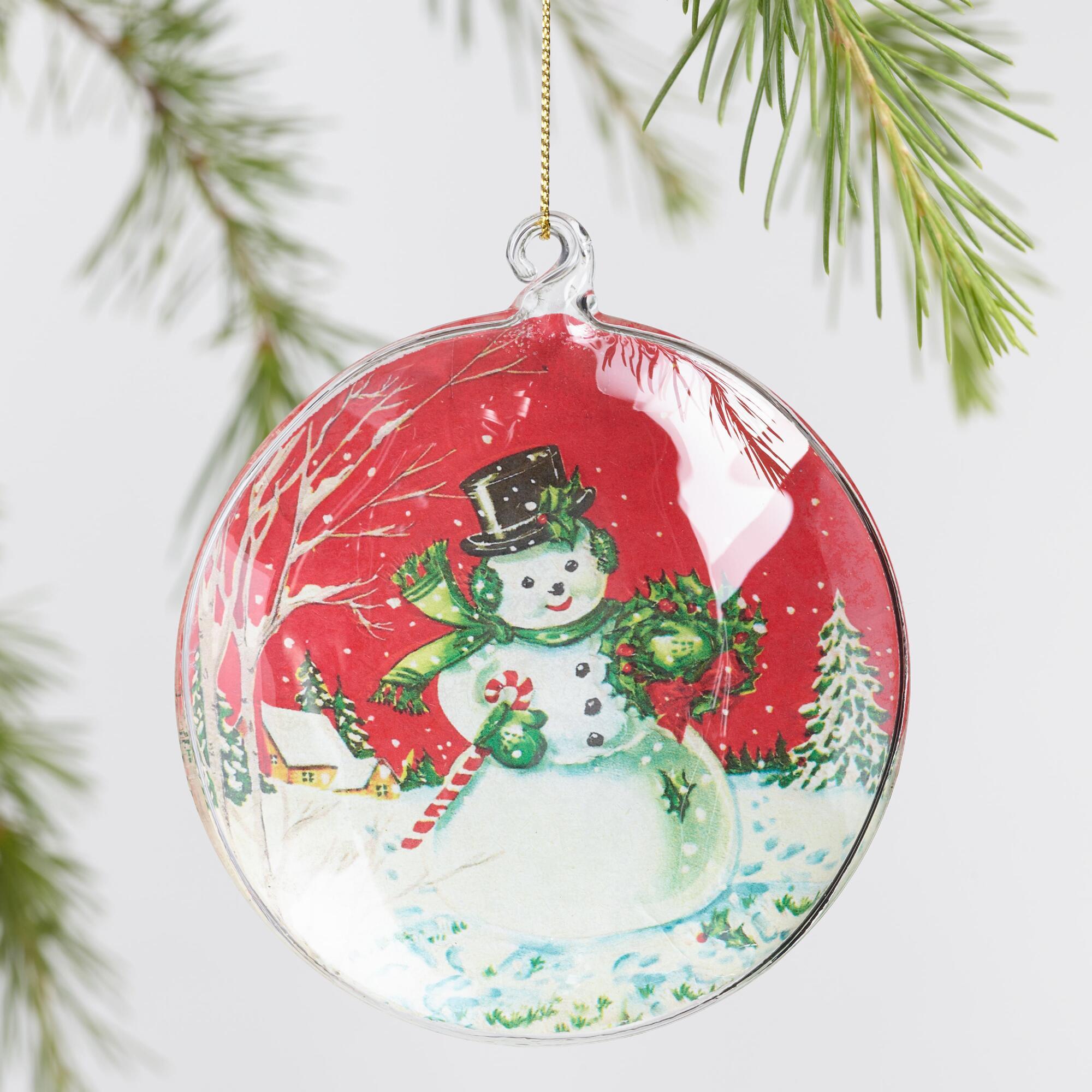 Unique Christmas Ornaments.Retro Glass Disk Ornaments Set Of 3 By World Market