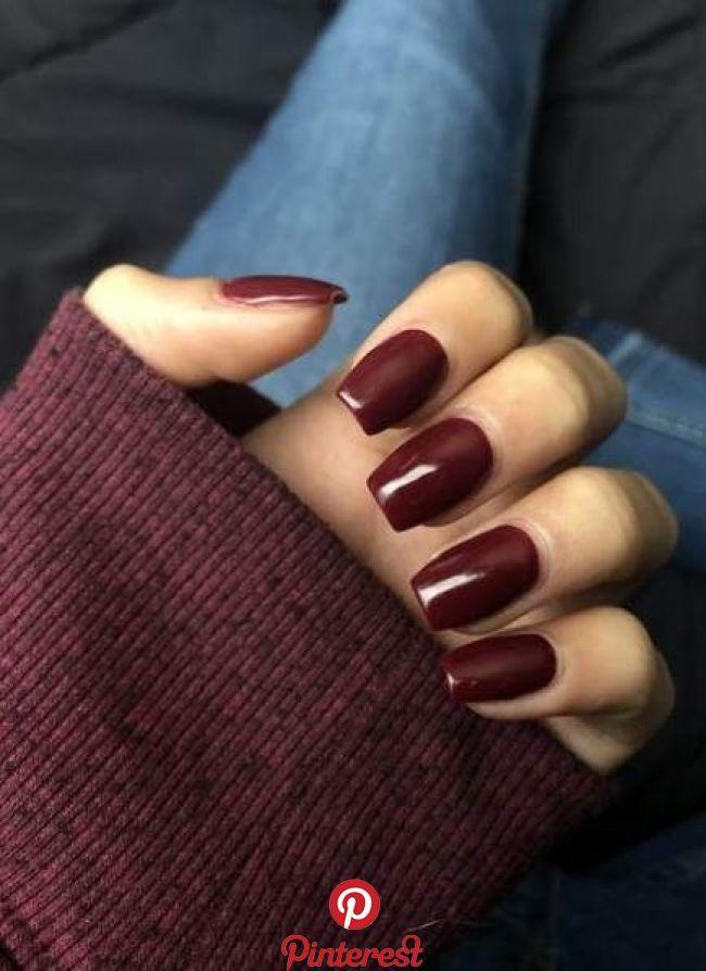 52 New Ideas For Fails Design Burgundy Deep Red Burgundy Acrylic Nails Squoval Nails Fall Acrylic Nails