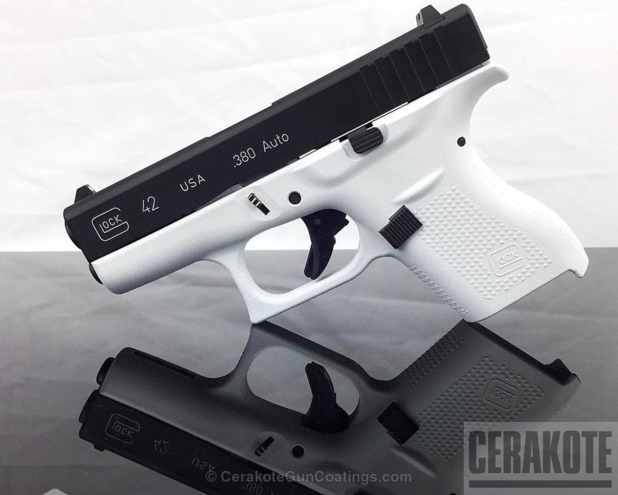 Two Toned Glock 42 380 Handgun in Stormtrooper White and
