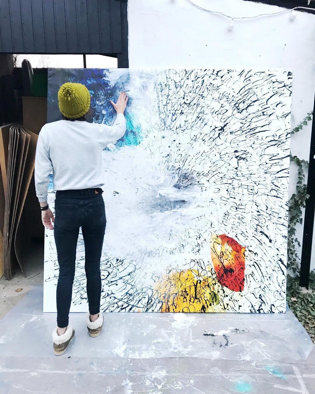 Abstract painter, outdoor studio