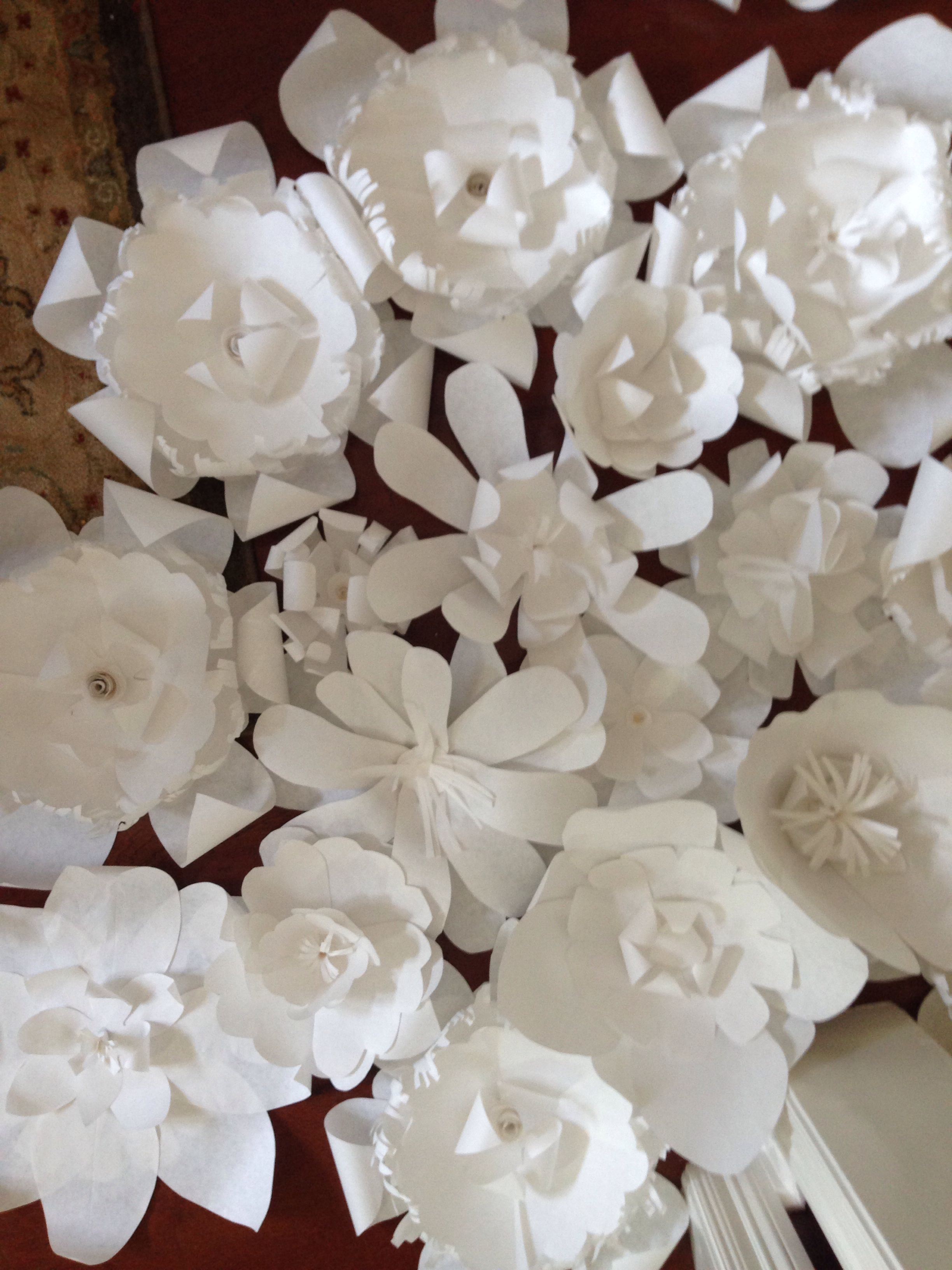 Butcher Paper Flowers Made From Various Stencils Paperflowers