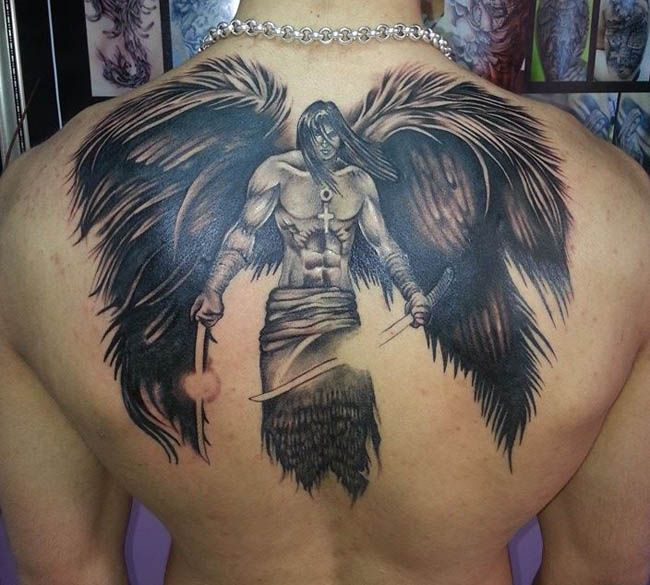 Best angels tattoos angel tattoo angels tattoos video for Angel mens tattoo