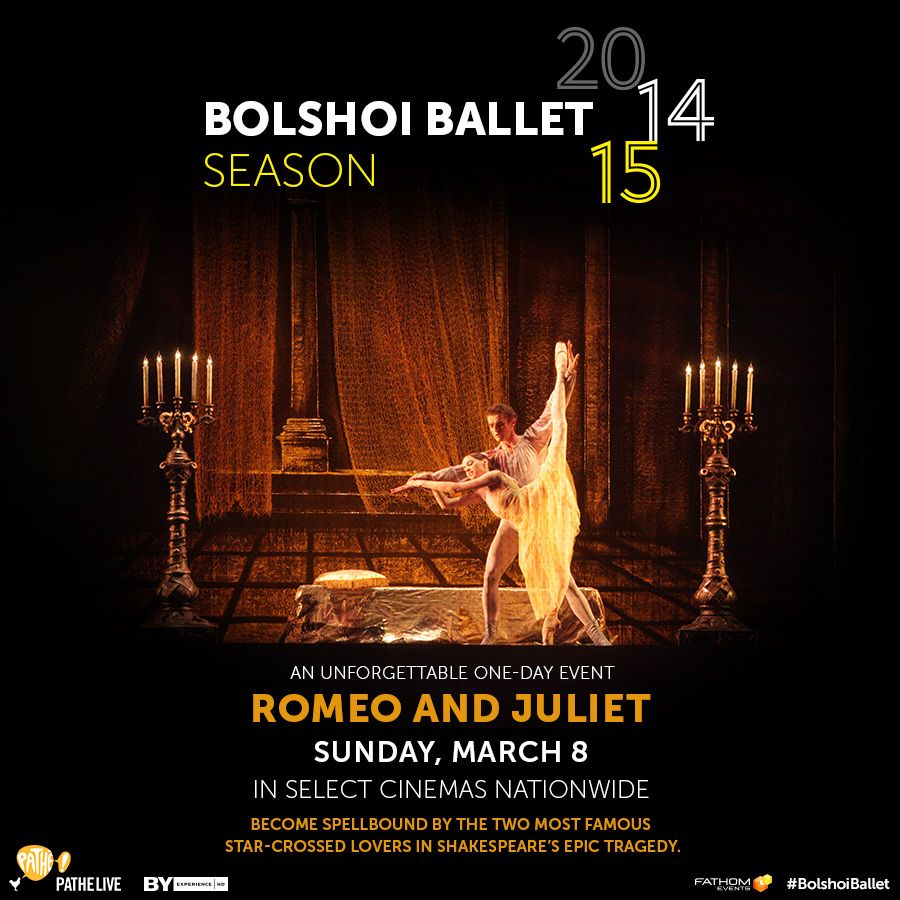 On March 8th, the world's most famous star-crossed couple travels from the Moscow stage to the big screen when the Bolshoi Ballet brings Romeo and Juliet to select cinemas nationwide for a special one-day event.