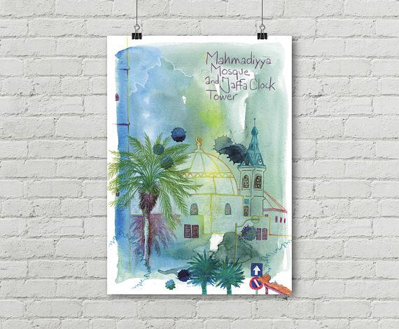 Mosquee Yafo Tel Aviv Jaffa Israel Vieille Ville Aquarelle