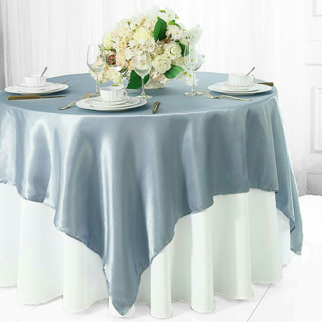 Dusty blue overlay white tablecloth Wedding table