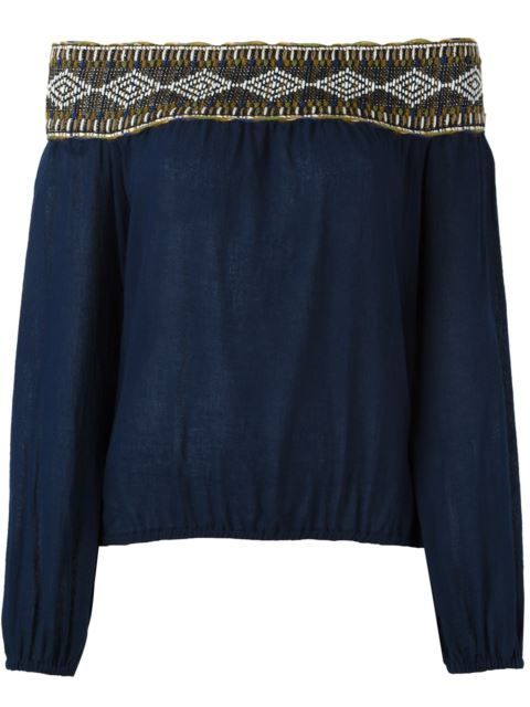 TORY BURCH Embroidered Off Shoulder Blouse. #toryburch #cloth #blouse