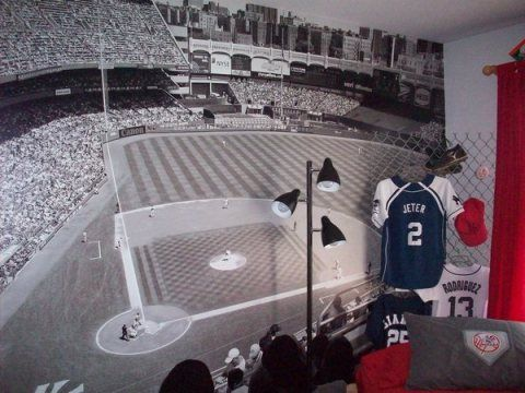 Yankee Stadium Black And White Wall Mural Yankee Bedroom Baseball Bedroom Man Cave Home Bar