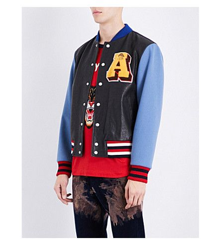4902789ec GUCCI Patch-appliquéd leather and wool bomber jacket. #gucci #cloth ...