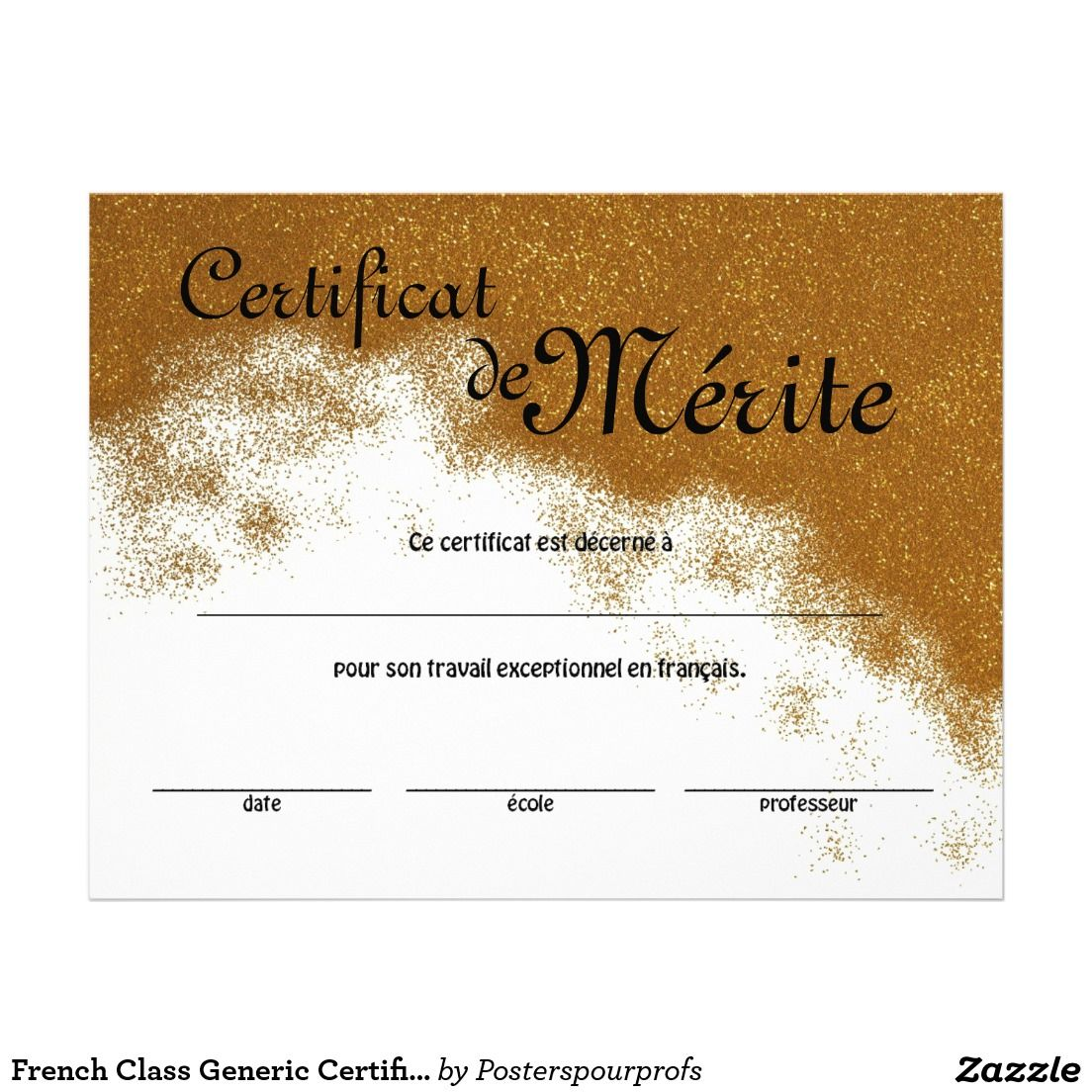 French Class Generic Certificate of Excellence Flyer