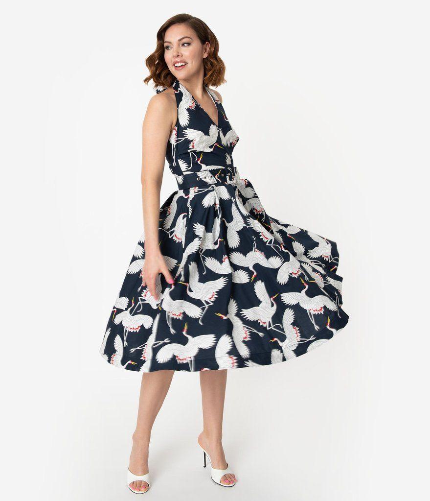 Unique Vintage Navy White Crane Print Halter Tarrytown Hostess Dress Hostess Dresses Dresses Vintage Brand Clothing