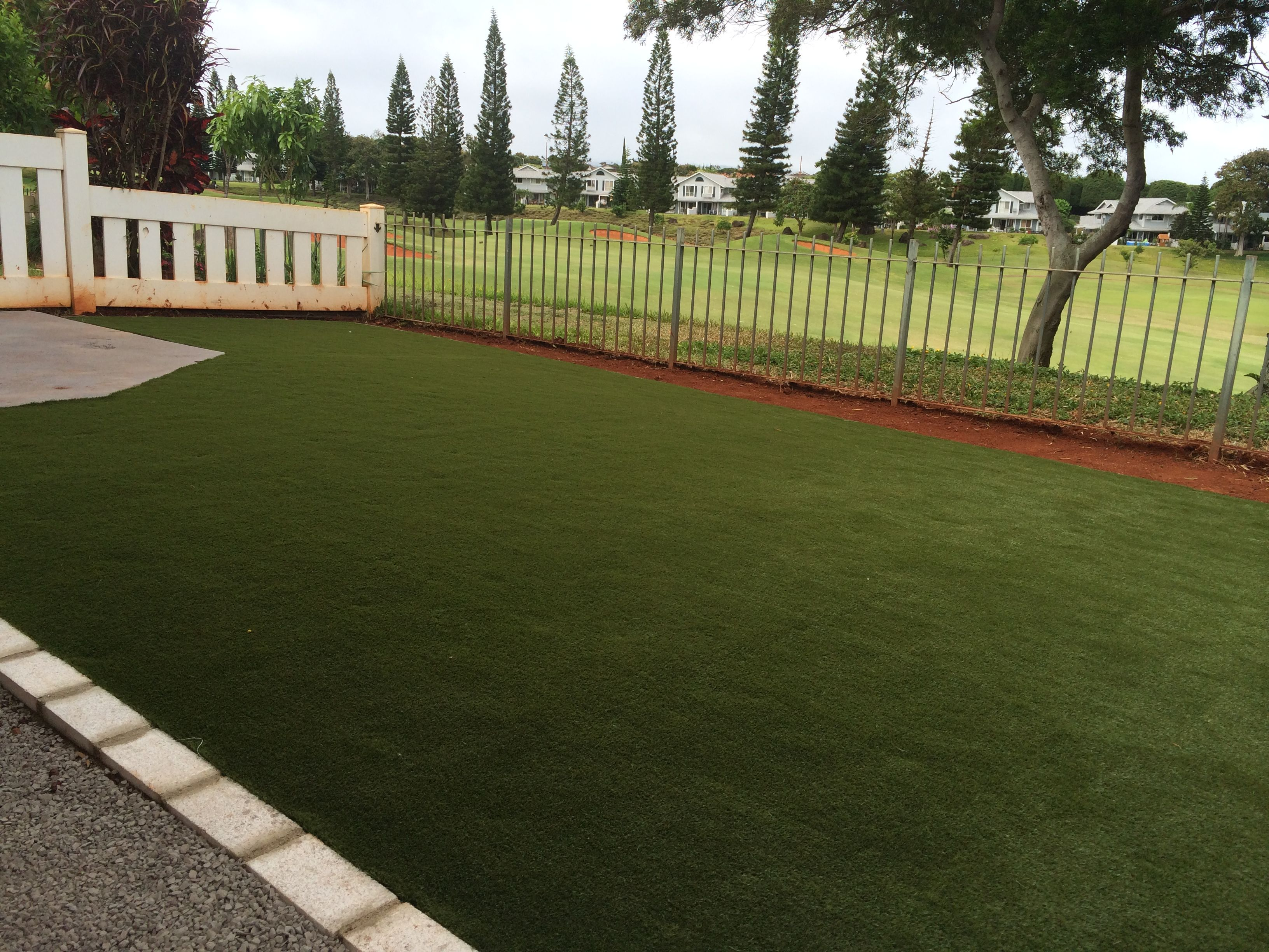 synlawn backyard over looking golf course brick borders to