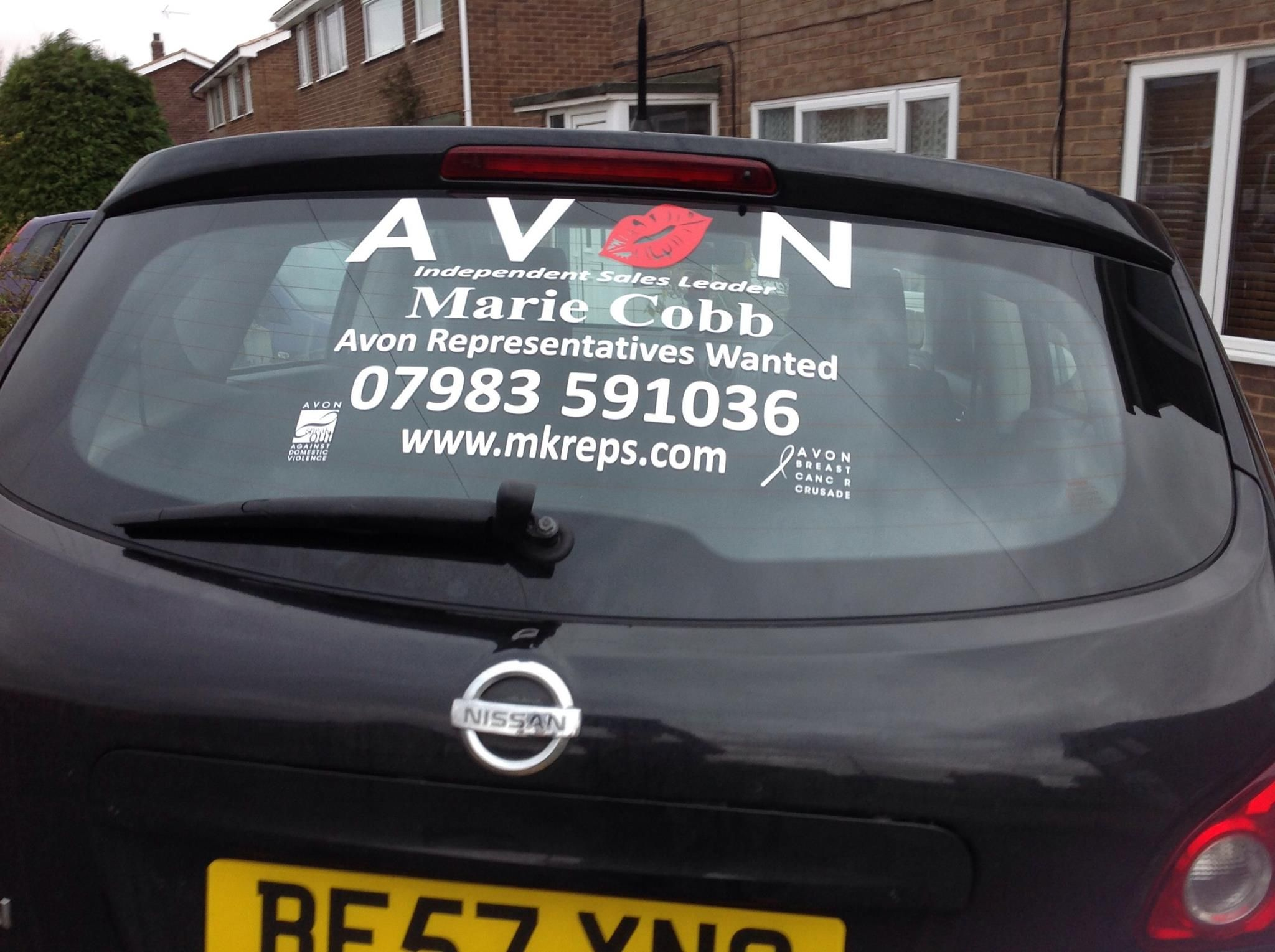 Design your own car sticker uk - A Car In The Uk With One Of Our Avon Car Signs On It