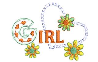 Bordados Gratis: Girl Entre las Flores y Corazon ~ Bordados Descargar Gratis, 200,000 mil Diseños Bordados Descargar Gratis