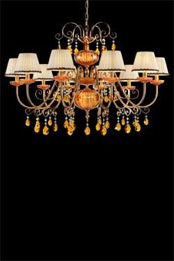 10 Light Chandelier In Orange Crystal With Beige Pleated Shades