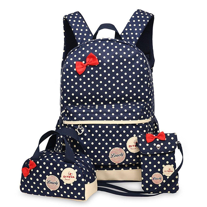 skyler kids dots bow 3pcs book bag school backpack handbag pouch